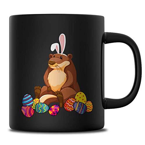 Otter Easter Bunny Ears Costume Mug For Women Girls, Happy Easter's Day Lover Mugs, Funny Easter Eggs Gift Ideas, 11 oz Black Mug ()