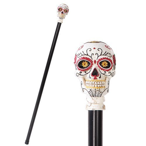 Day Of The Dead Skull Walking Cane Made of Polyresin Not Medically Approved To Support Weight]()