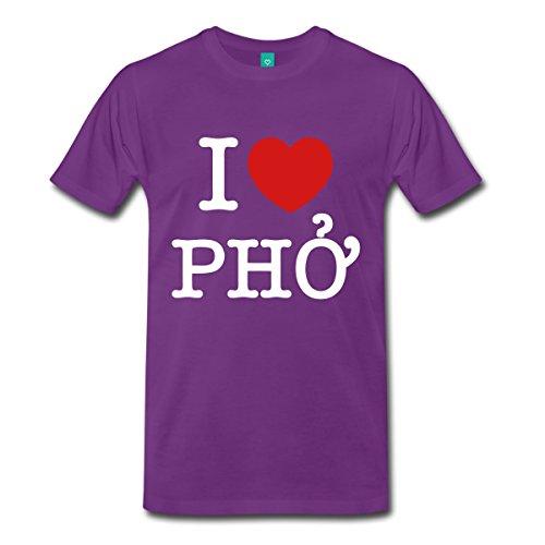 Spreadshirt Men's I Heart (Love) Pho T-Shirt, purple, 3X