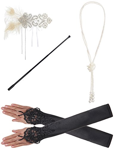JustinCostume 1920s Accessories Headband Necklace Gloves Cigarette Holder (A4) (Great Gatsby Dresses)