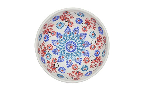 Antique White Fruit Bowl - Handmade Ceramic Salad, Serving and Mixing Bowl with flowers - 12 different colors and patterns - 10 inch - great serving Bowls for Fruit, Salad, rice (Greek White)