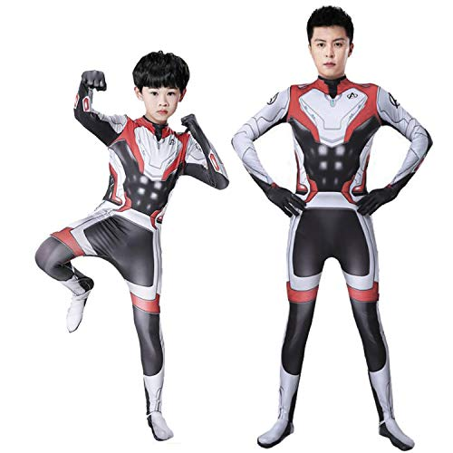 Avengers End Game Quantum War Cosplay Costume Jumpsuit Tights Costume for Adult Children Superhero Costume Boys and Men (Kids-L) Black,red -
