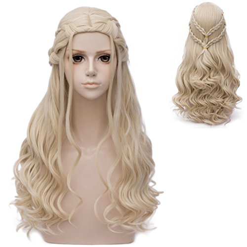 Probeauty 2017 New Long Braid Curly Women Cosplay Wigs for Daenerys Targaryen khaleesi+Wig Cap (Blonde Curly Braid B) (Cruella Deville Costume Amazon)