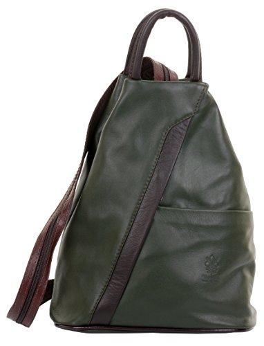 Primo Sacchi Italian Soft Napa Leather Dark Green & Brown Top Handle Shoulder Bag Rucksack Backpack