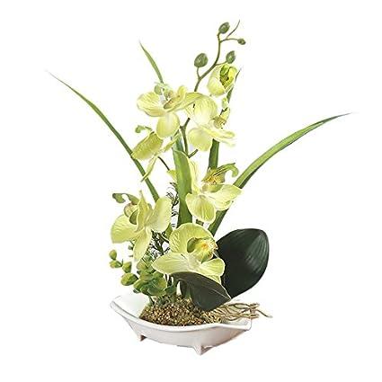 Flores artificiales de simulación de Orquídea Bonsai Phalaenopsis con maceta para Ornamentos de decoración del hogar
