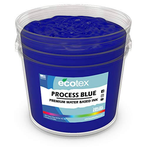 Ecotex Process Blue Water Based Discharge Ink for Screen Printing - Non Phthalate Formula for Fabric/Textiles - Pint-16 oz.