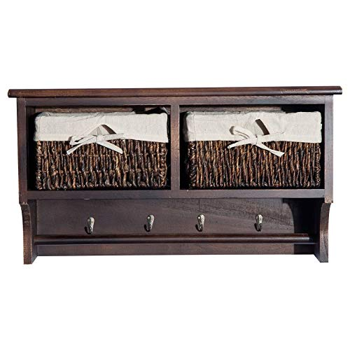 """MRT SUPPLY 24"""" Rustic Country Floating Storage Shelf W/Coat Hooks and Removable Wicker Baskets - Coffee Woodgrain with Ebook by MRT SUPPLY (Image #4)"""