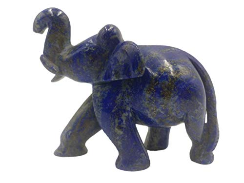 (Lapis Lazuli natural stone carving of Elephant 3.75 inches - Elephant gifts, Animal figurines and hand carvings in lapis lazuli)