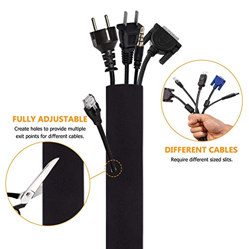 Cable Manager YOMYM Cable Cover Zipper Buckle Computer Cable Management Storage Set 4 Pieces Black