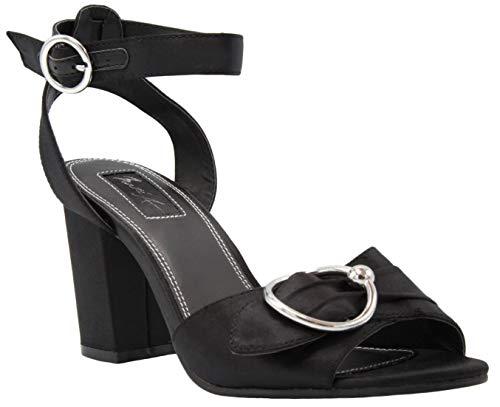 (Mari A Women's Moxie Block Heel Dress Shoe Ladies Ankle Strap Pump Sandal with O Ring Black Satin 8.5)