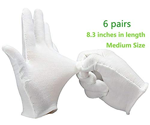 Amanely White Soft 100% Cotton Thicker for Home Working Coin Jewelry Silver Inspection Formal Marching Band Parade CD/DVD, Spa Handling Gloves (Medium, 6 Pair) -