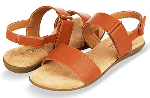 Floopi Sandals for Women   Cute, Open Toe, Summer Sandals  Comfy, Adjustable Velcro, Faux Leather Ankle Straps W/Flat Sole, Memory Foam Insole (8, ()