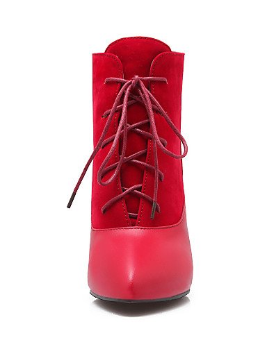 Eu42 Beige Vestido 5 5 Puntiagudos Cn34 Negro us5 Black De Uk8 Botas Cn43 Eu35 Beige Rojo Mujer Semicuero Casual Vellón Xzz Zapatos Uk3 Stiletto Tacón Botines us10 Hgx8ZZ4wq