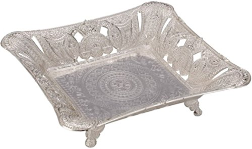 (Square Fruit Cookies Candy Bowl Footed Basket Silver Plated Color Antic Antique pedestal 11