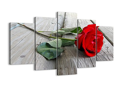 Red Rose Canvas Print - 5 Piece - multi-panel home wall art decor