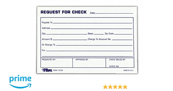 Amazon.Com : Tops Check Request Forms, 4 X 6 Inch, 100 Sheets, 2