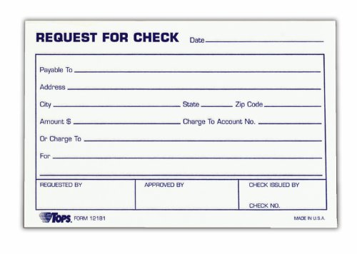 AmazonCom  Tops Check Request Forms  X  Inch  Sheets