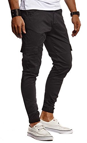 Leif Nelson Herren Jeans Chino Cargo Hose Stretch Jeanshosen Jogger Chinohose Freizeithose Stretch Slim Fit LN9285