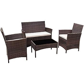 Amazon Com Flamaker Outdoor Furniture Patio Set Cushioned Pe Wicker