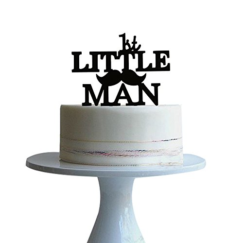 1st birthday cake topper with Mustache Silhouette MAN for baby boy'birthday party -