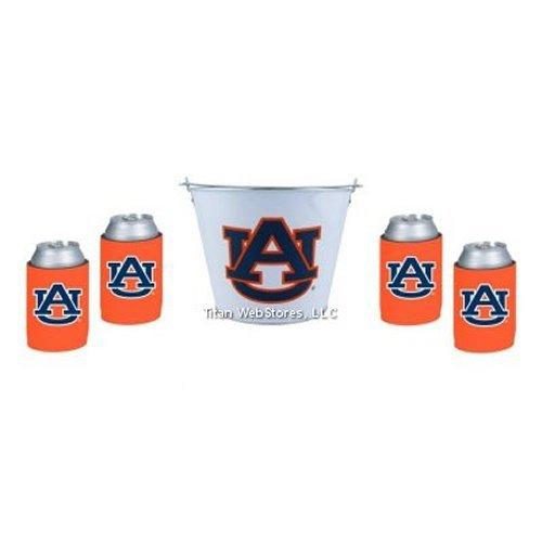 NCAA Auburn Tin Beer Pail & Can Insulator (4) Set   Auburn Tigers Koozie & Bucket Gift Set