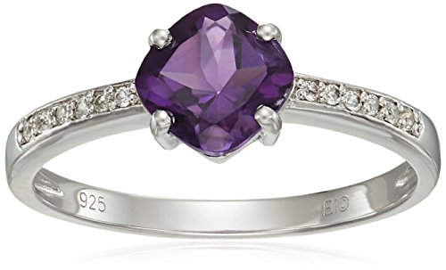 Sterling Silver Amethyst and White Topaz Ring, Size 5