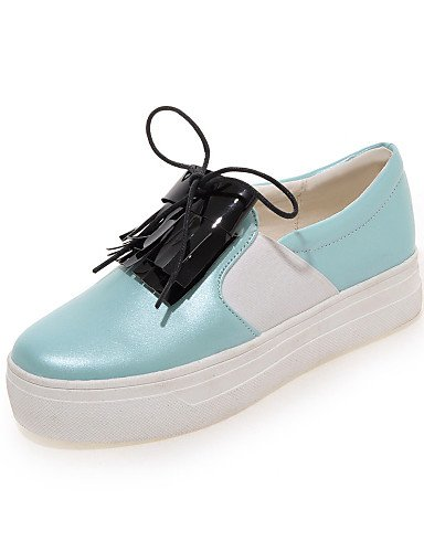 ZQ gyht Zapatos de mujer-Plataforma-Punta Redonda-Mocasines-Casual-Semicuero-Azul / Rosa / Blanco , pink-us8 / eu39 / uk6 / cn39 , pink-us8 / eu39 / uk6 / cn39 white-us5.5 / eu36 / uk3.5 / cn35