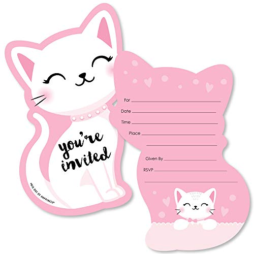 Purr-FECT Kitty Cat - Shaped Fill-in Invitations - Kitten Meow Baby Shower or Birthday Party Invitation Cards with Envelopes - Set of 12