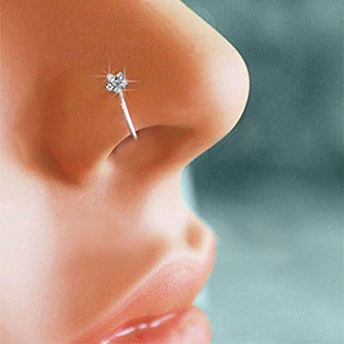Sinfu 1Pc Fashion Decoration Nose Rings for Women's Nasal Nail Jewelry 3 Diamond/5 Diamond Open Cuff Nasal Ring (Silver) ()