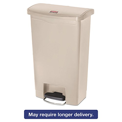(Rubbermaid Commercial 1883458 Slim Jim Resin Step-On Container Front Step Style 13 gal Beige)