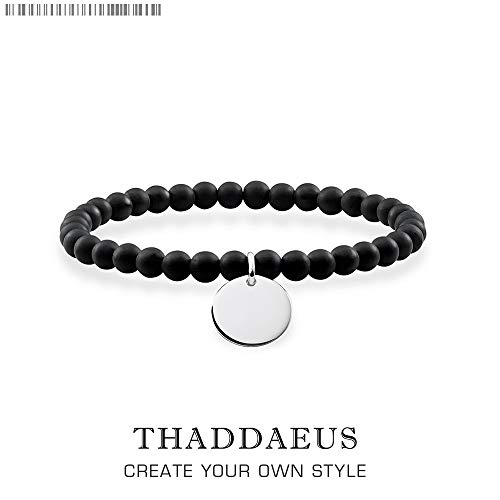 Bracelet Black Obsidian Disk Beads,2019 925 Sterling Silver Thomas Style Jewelry Tms Bijoux Gift for Ts Men & Women