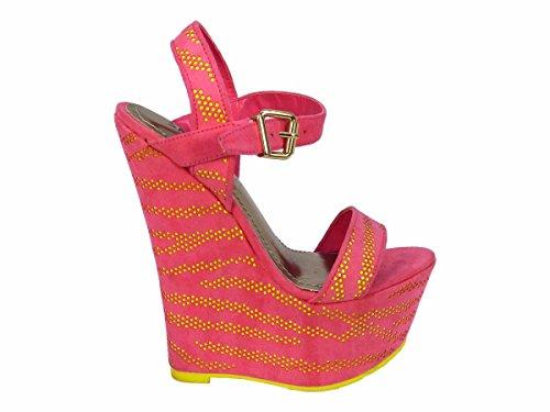 57 compensés femme SKO'S Pink 130058 Yellow Talons FqUHY