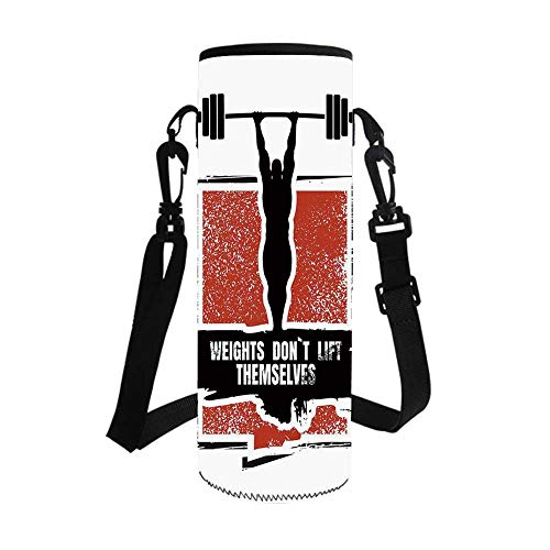 Fitness Stylish Bottle Sleeve,Bodybuilder and Huge Barbell Silhouettes Icon of Posing Athlete Weights Lift Decorative for Bottle & Vacuum Cup,3.7''L x 3.7''W x 10.2''H