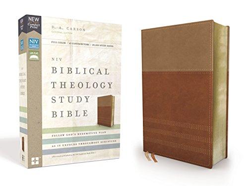 NIV, Biblical Theology Study Bible, Leathersoft, Tan/Brown, Comfort Print: Follow Gods Redemptive Plan as It Unfolds throughout Scripture