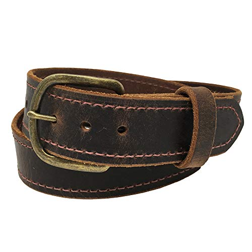 Men's Distressed Jean Belts, Crazy Horse Water Buffalo Leather, 9 Ounce - Antique Belt Buckle - Handmade in the USA! By Exos (40 - For 38