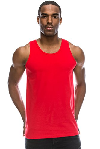 d2ad15be3c1b0 Galleon - JC DISTRO Mens Hipster Hip Hop Basic Workout Solid RED Tank Top  Sleeveless Top XL