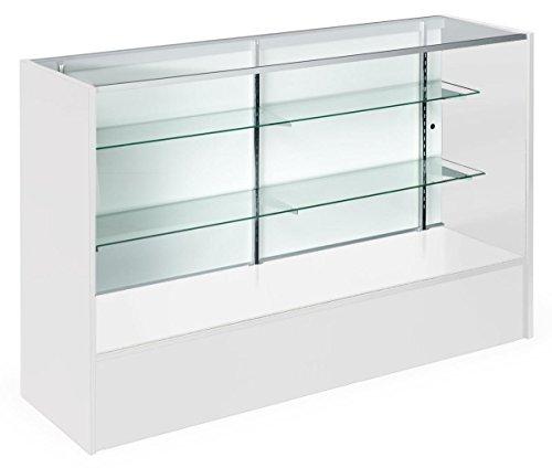 Displays2go Full Vision Display Cases, Melamine Panels, Anodized Aluminum, Tempered Glass Shelves - White (MRC5WHTKD)