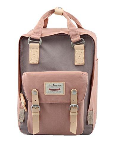 "Himawari Backpack/Waterproof Backpack 14.9"" College Vintage Travel Bag for Women,13inch Laptop for Student (pink&Gray)"
