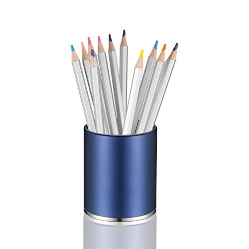 (KUNGYO Aluminum Round Pen Pencil Holder with Non-Slip Mat Concise Desktop Stationery Organizer for Office, Home, School (Blue))