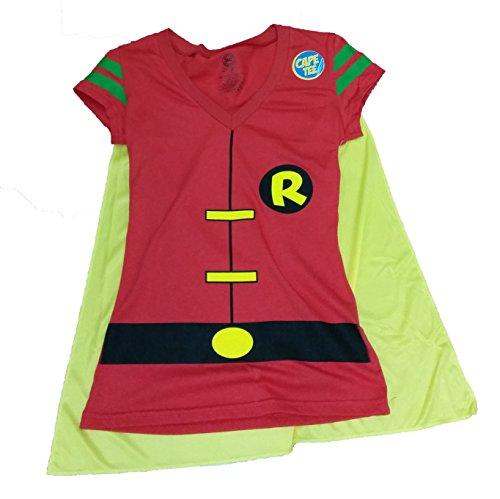 DC Comics Robin Batman Costume Licensed Graphic T-Shirt w/ Cape - Large (Halloween Tshirt)