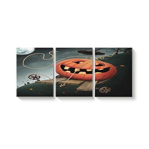 Arts Language 3 Piece Canvas Wall Art Painting for Office Bedroom Living Room Home Decor,Cute Pumpkin Happy Halloween Pictures Modern Artworks,24 x 28in x 3 Panels