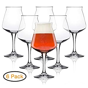 Rastal Teku Tulip Glass Beer – Nucleated Pint Craft Beer Glass for Better Head Retention, Aroma & Flavor- Italian Made 14.2 oz for Enhanced Beer Drinking Bliss- Stemmed Beer Glass – Set of 6 Pack