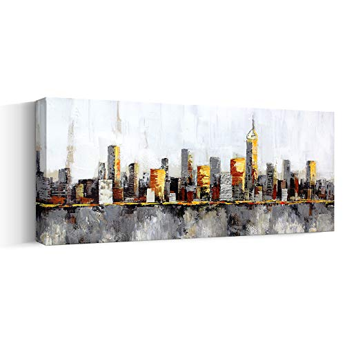 American Big Urban Abstract Art Chicago Cityscape Skyline Oil paintings Wall Art for Bedroom,Original Handpainted City Artwork on Large Thick Canvas Ready-to-Hang,(24