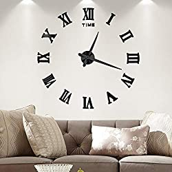 Vangold Large 3D DIY Wall Clock, 2-Year Warranty Roman Numerals Clock Frameless Mirror Surface Wall Sticker Home Décor for Living Room Bedroom