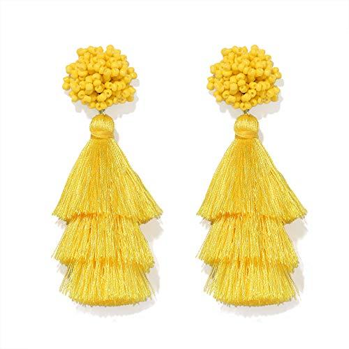 (HEIDKRUEGER Layered Tassel Earring Bohemian Lightweight Colorful Tiered Thread Long Fringe Tassel Drop Dangle Beaded Statement Stud Earring Women Gifts (Yellow))