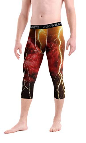 Bucwild Sports 3/4 Basketball Compression Pants Tights for Youth Boys & Men (Red Lightning, Small)