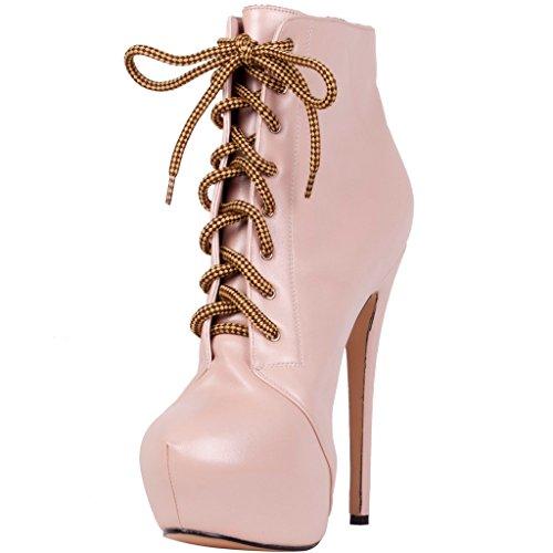 Women's Round Toe Platform High Heels Fashion Ankle Boots Pink - 1