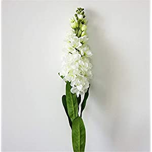 "Skyseen 6PCS Stems 32"" Artificial Antirrhinum Snapdragon Silk Hyacinth Flowers(White) 12"