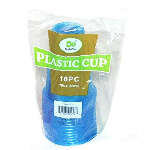 16ct Blue Plastic Cup 16oz, Case of 48