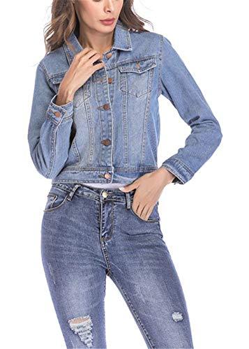Jeans Hellblau Giubbino Outerwear Lunga Denim Cappotto Fit Bavero Primaverile Giovane Donna Vintage Autunno Eleganti Giaccone Manica Women Corto Slim Fashion Giacche Casual A81TH4qx